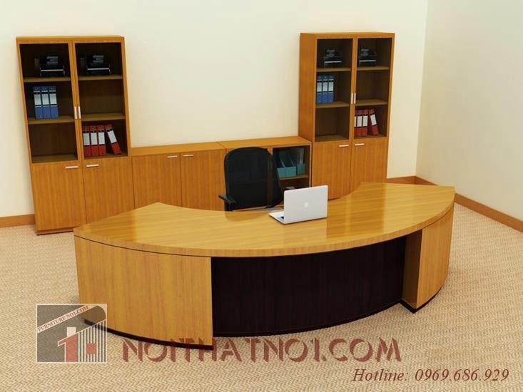 Thiết kế bàn giám đốc gỗ sồi độc đáo