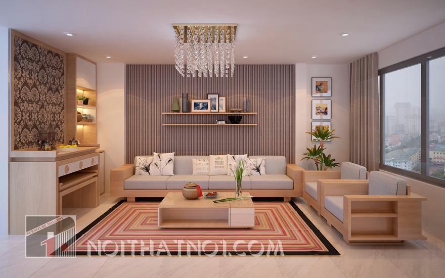 Sofa gỗ phòng khách hiện đại