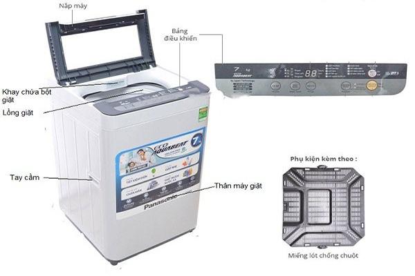Chỗ đổ nước xả vải vào máy giặt panasonic ở đâu?